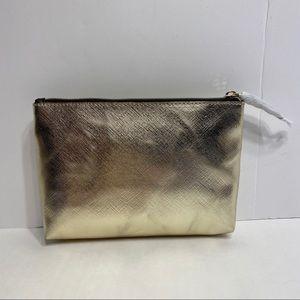 NWOT Victoria's Secret Gold Makeup Bag Travel